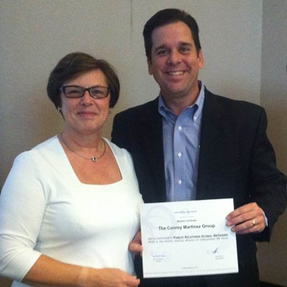 PRGN President Francine Robbens welcomes Jorge Martinez, Vice President of The Conroy Martinez Group, to the Network