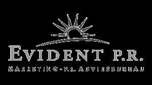 Logo Evident P.R., black & white