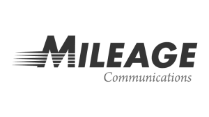 Logo Mileage Communications, black & white