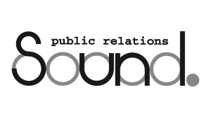 Logo Sound Public Relations, black & white