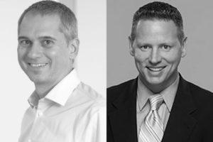 Robert Bauer, accelent communications (left) und Chuck Norman, S&A Communications (right)
